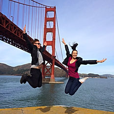 Golden Gate Bridge jump shot at Ft Point on a Private SUV San Francisco City Tour with www.LandsEndTourCompany.com