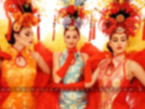 Roving Asian dnacers in full chinese and showgirl costumes. For events and Chinese New Year and Festivals. Asia themed dance stage shows  acts in Melbourne Australia