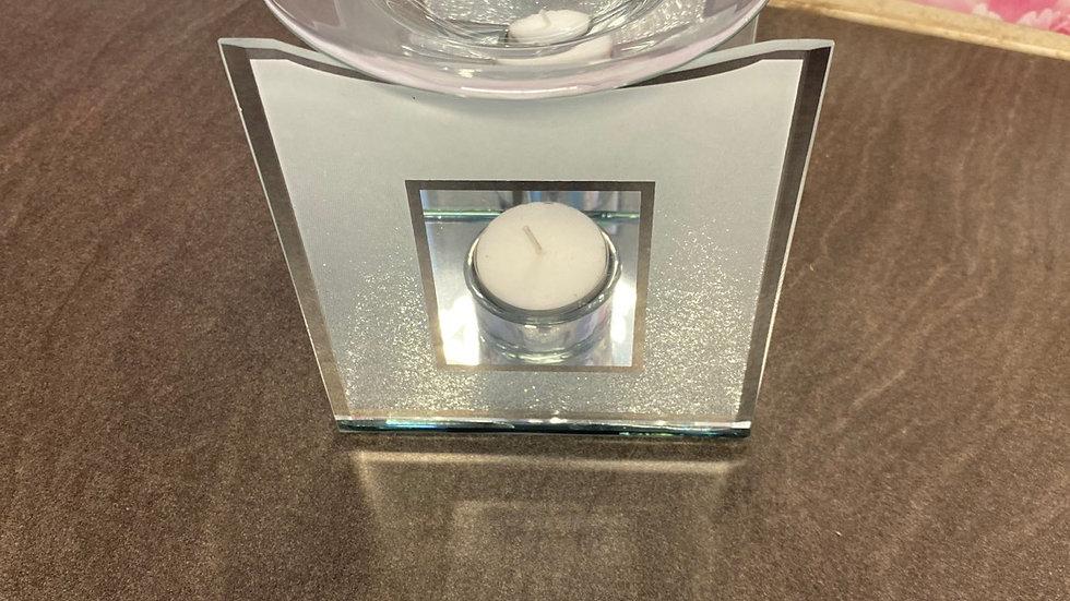 Silver glitter tea light burner
