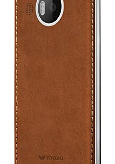 Mozo Microsoft Lumia 950 XL Qi Wireless Charging Back Cover Case with NFC - Cognac/Silver Hands on R