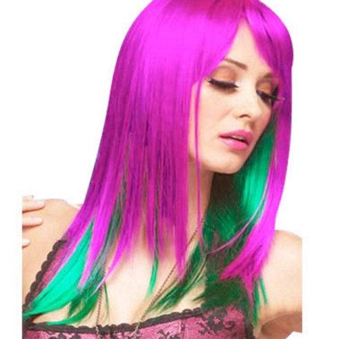 Peluca Purpura Verde Lisa
