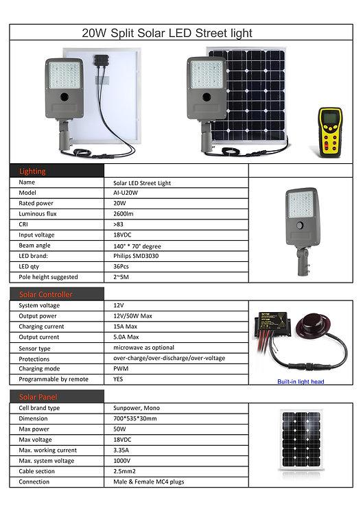 Split LED Solar Light specs
