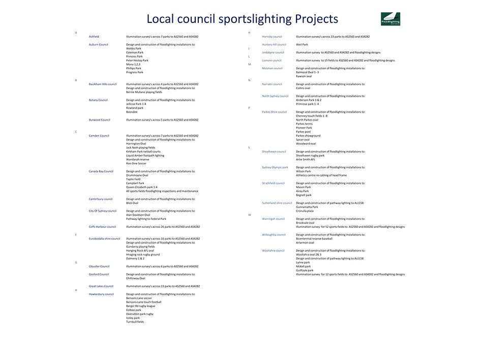Project listings Floodlighting Australia, local council Floodlighting Australia