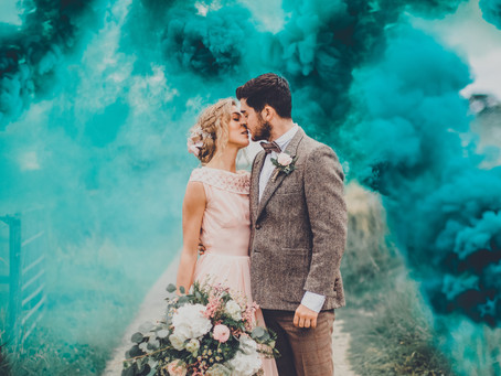 Smoke Bombs in the Countryside - Vintage Bridal Inspiration - Poppy Carter Portraits Alternative Wed