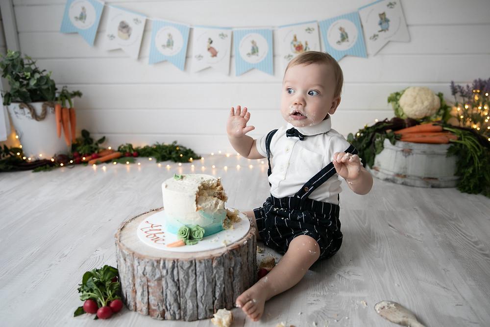 Aylesbury Cake Smash - Peter Rabbit Cake Smash - Poppy Carter Portraits