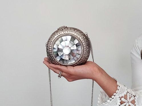 Silver Marble Vintage Clutch