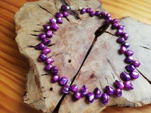 2e9c53585761 Collar de perlas de río teñidas de morado con cierre de plata 925 tipo