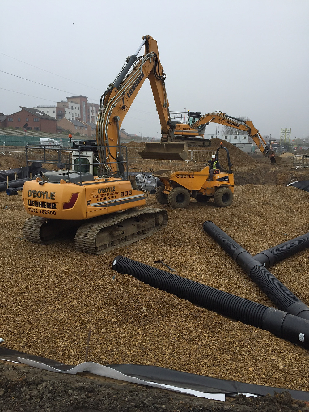 Works at Peterborough are still ongoing. Pictured are two pieces of heavy machinery.