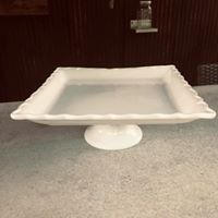 Short White Square Cake Stand
