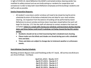 Quarterly Window Cleaning Scheduled for the Week of April 26, 2021 thru April 30, 2021