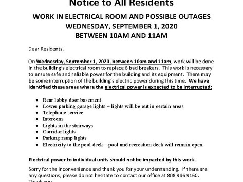 Work in Electrical Room and Outages on Wednesday, September 1, 2020 between 10 AM and 11 AM