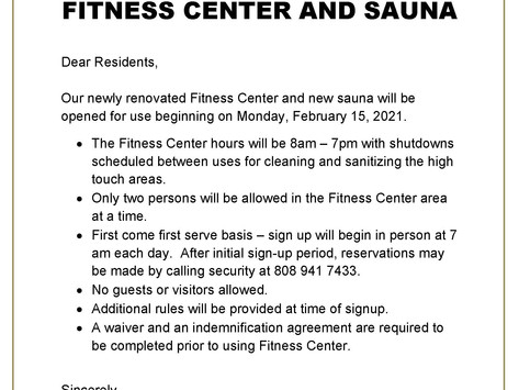 Newly Renovated Fitness Center and Sauna Will Open on Monday, February 15, 2021