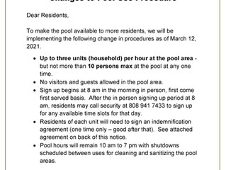 CHANGES TO POOL USE
