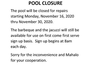 Revised Pool Shut Down Notice - November 18, 2020