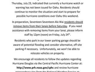 1717 Ala Wai Hurricane Douglas Advisory 1
