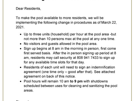 Changes to Pool Hours