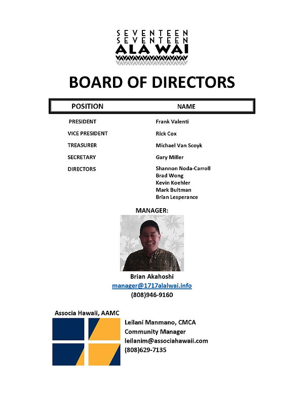 BOARD OF DIRECTORS ROSTER 2020 3_6_2020.