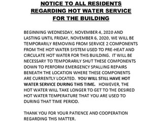 Hot Water Service for the Building