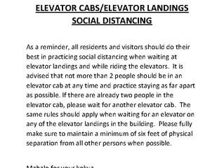 ELEVATOR CABS/ELEVATOR LANDINGS SOCIAL DISTANCING