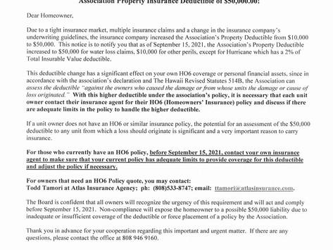 Association Property Insurance Deductible