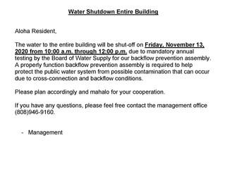 Water Shutdown Entire Building 11/13/20
