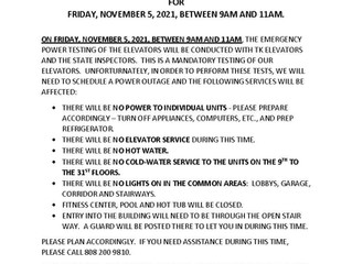 POWER OUTAGE ON FRIDAY, NOVEMBER 5, 2021 BETWEEN 9AM TO 11AM