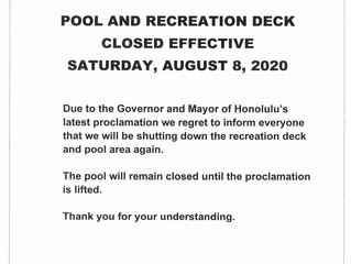 Pool and Recreation Deck Closed Effective 8/8/2020