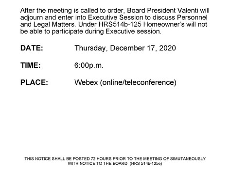 Thursday, December 17, 2020 Board of Director's Meeting