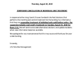 Temporary Cancellation of Individual Unit Treatment