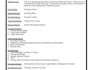 1717 Ala Wai AOAO  -  Regular Board Meeting Notice  -  Thursday, January 21, 2021 at 6PM Online