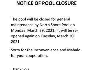 Notice of Pool Closure on Monday, March 29, 2021