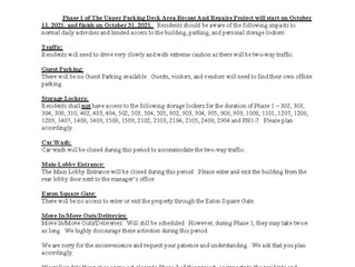 Notice to All Residents Regarding:  Phase 1 Work of Upper Parking Deck Area Recoat/Repairs Project