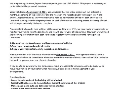 UPPER PARKING DECK AREA RECOAT/REPAIRS