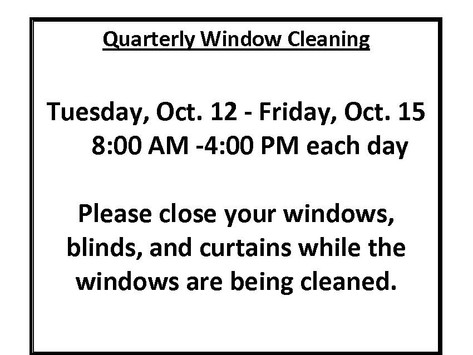 October Quarterly Window Cleaning