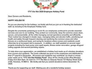 Happy Holidays!  2020 Employee Holiday Fund