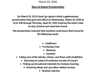 Stay-at-Home Proclamation/Resident Essential Activities