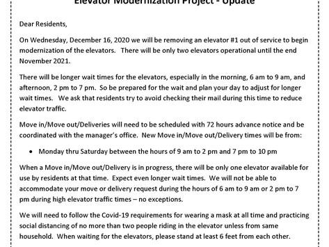 Elevator Modernization Project - Update  111420