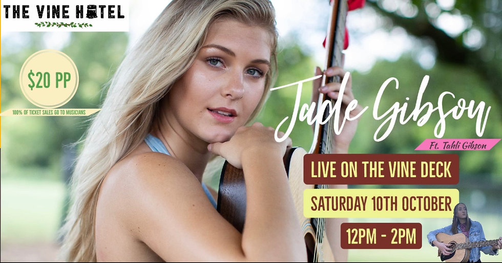 Jade Gibson live on the deck! Ft Tahli Gibson 10/10 (12-2pm)