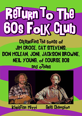 Return to the 60's folk club ft Greg Champion..Sat 16th Jan, 2020 7pm