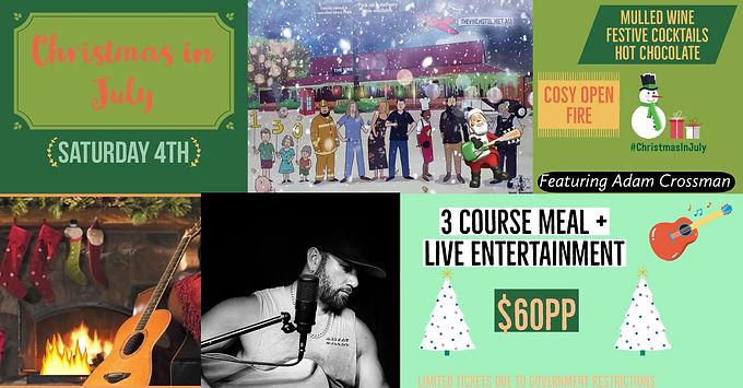 Christmas in July dinner & show featuring Adam Crossman 08/08