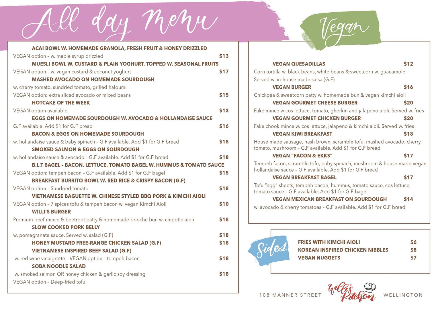 Our Cafe Menu