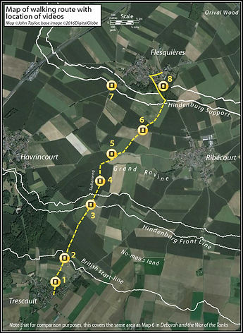 Map of walking route, b