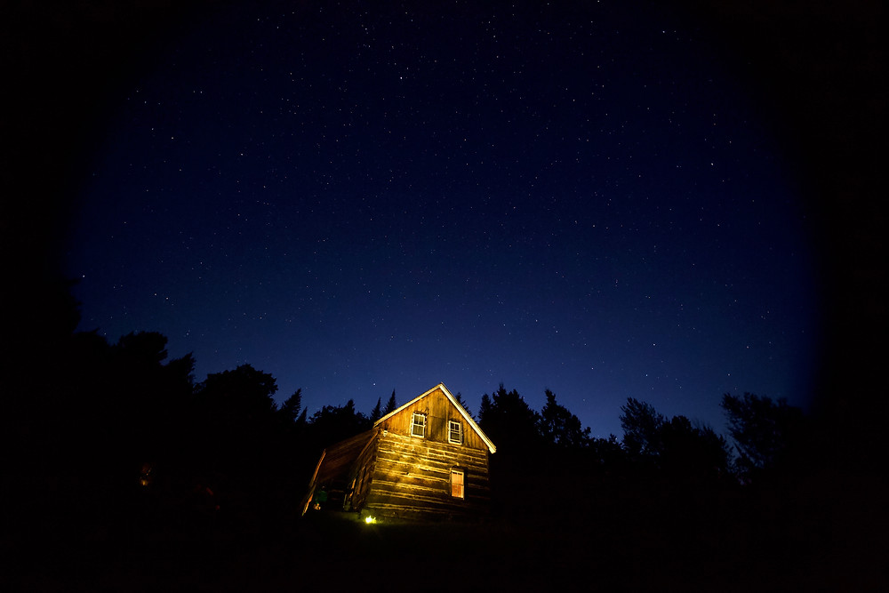 LeTerrain's off-grid farmhouse during a starry night. Photo courtesy Steve Durand