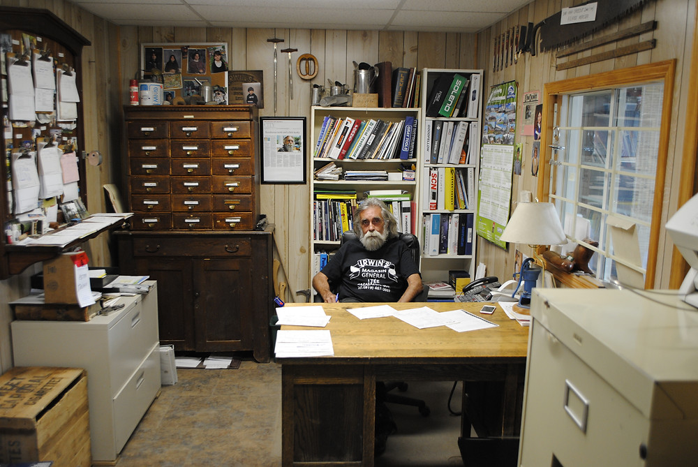 Irwin's General Store owner Jim Irwin at his store's chainsaw chain breaker and spinner, he announced the closure of the Kazabazua institution in August and, while there's no set closing date, could close by the end of September. Hunter Cresswell photo