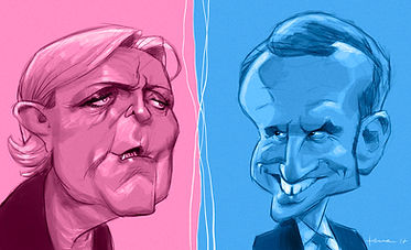 Caricature marine Le Pen vs Emmanuel Macron, Le Pen vs Macron