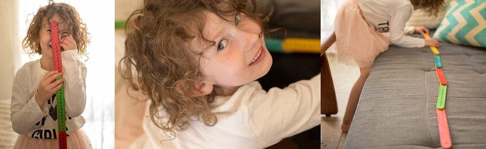 ילדה משחקת בתוצרים מקופסת מדידה