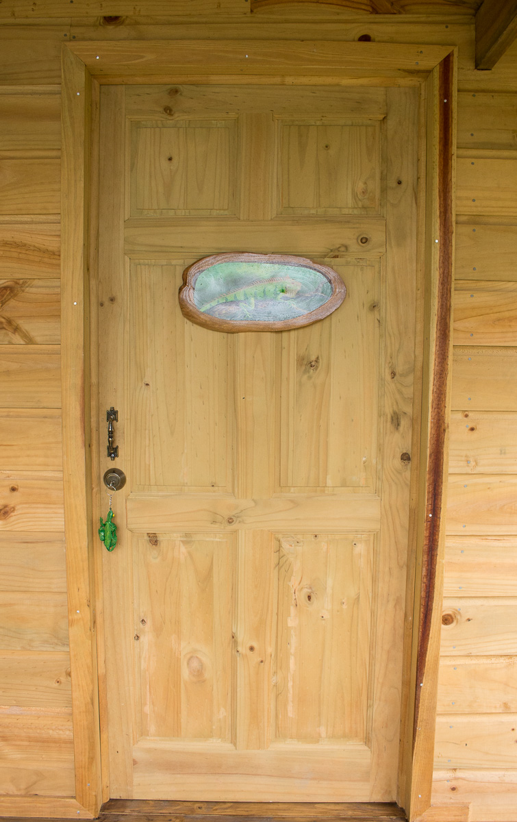 entrée porte cabane en bois iguana