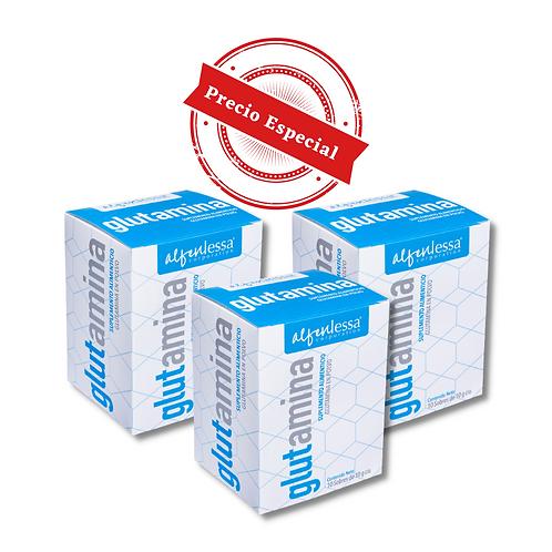 Glutamina en polvo 3 pack