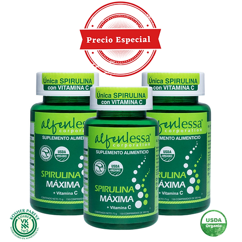 Spirulina Máxima Orgánica + Vitamina 3 pack