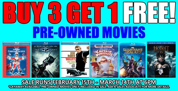 Buy 3 Get 1 Movies Sale 2-15-21